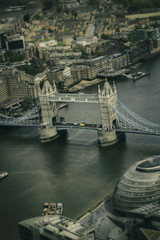 Aerial view of the historic Tower of London on the river Thames.