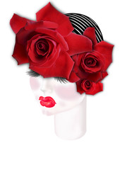 Drawing girl face with  diadem of roses  and cap on his head