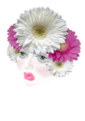 Diadem of colored flowers daisies on her head girl
