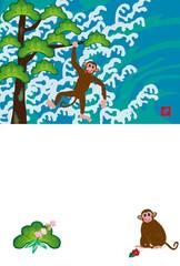 猿のイラスト年賀状テンプレートの申年の干支のサル