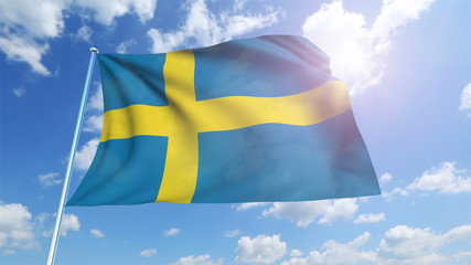 Sweden flag with fabric structure against a cloudy sky (loop)