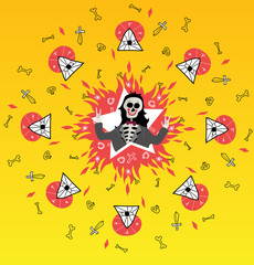 Icon skeleton rock-star. Mexican style. Vector illustration.