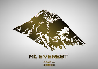 Outline vector illustration of bronze Mt. Everest