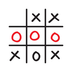 Illustration of doodle tic tac toe game