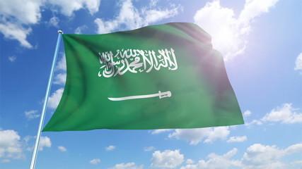 Saudi Arabia flag against a cloudy sky (loop)