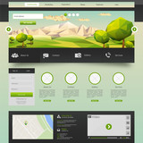 Modern Eco website template with flat eco landscape
