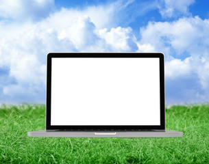 Laptop on some green grass on a cloudy day
