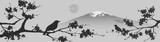 Fototapety Japanese design with Fuji mountain and Sakua Tree.