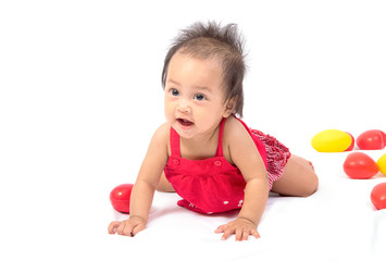 Baby crawling on the floor,isolate
