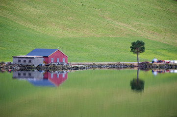 Red cottage in Norway