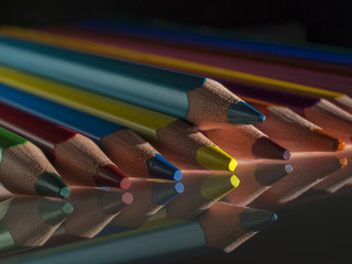 group of colour wooden pencils