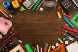 school supplies on wood - 83255773