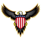 Fototapety Patriotic American Eagle, Wings Spread, Holding Shield Vector Illustration