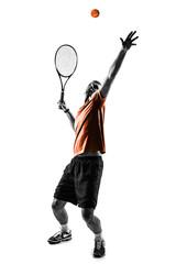 Tennis player isolated. Studio shot
