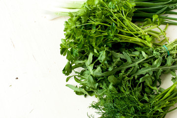 rukolla lettuce, green onions and dill
