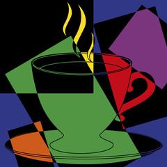 Tasse de café chaud  psychédélique