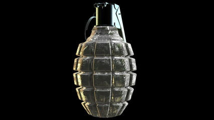 Abstract Hand grenade on black