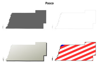 Pasco County (Florida) outline map set