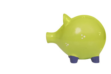 green piggy bank isolated over white