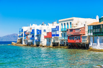 Picturesque View of Little Venice in Mykonos, Greece