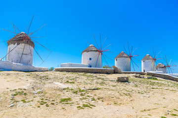 Windmills in Mykonos Island, Greece
