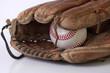 ������, ������: baseball glove and balls on white background