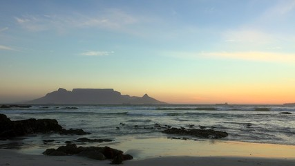 Bloubergstrand at the sunset (view to Cape Town)
