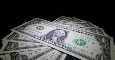 4K - Money. US Dollar Banknotes Dolly Shot