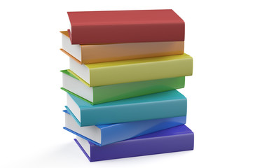 set of multicolored books