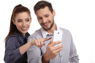 The new phone generation is playing. Couple concept