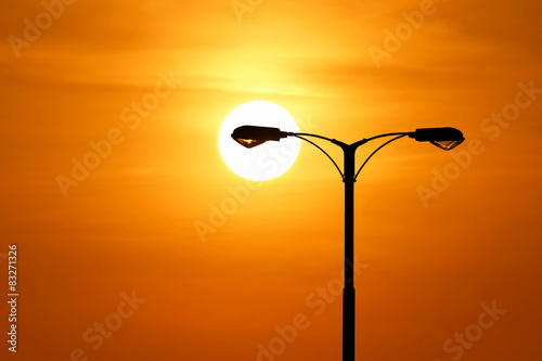 silhouette of streetlight with beautiful sunset