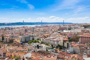 Aerial view of Lisbon rooftop from Senhora do Monte viewpoint (M