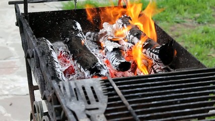 Firewood in the grill