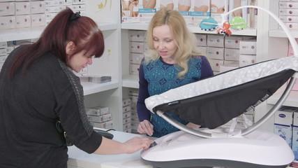 Buying electric rocker sleeper chair in baby shop