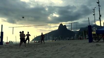 Slow Motion Beach Volleyball Ipanema Beach Brazil