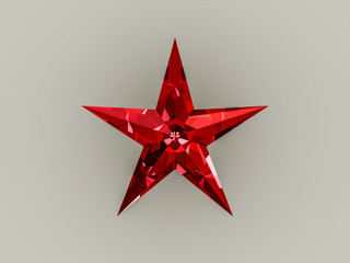 Red sparkling star in white background