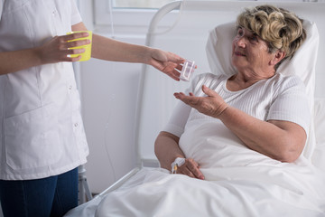 Caring about bedridden woman