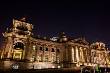 Night view of Reichstag building in Berlin, Germany . Building o