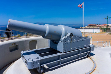exhibit guns in Gibraltar.  Rule Britannia.  Old cannon installe