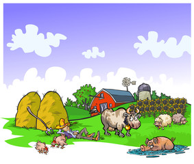 Cartoon illustration of a quiet farm.