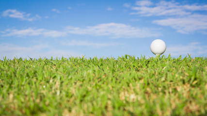 Golf ball on grass with sky background
