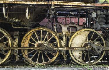 Details of an old steam locomotive