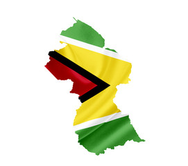 Map of Guyana with waving flag isolated on white