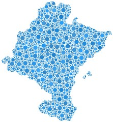 Chartered Community of Navarre in a mosaic of blue bubbles