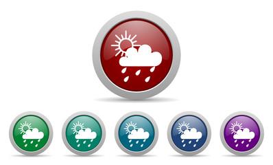 rain vector web icons set