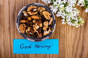 Breakfast  with nuts, dried apricots, raisins