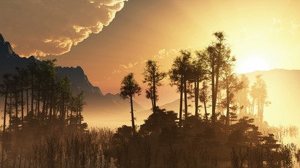 trees on mountain lake islands. sunset with sunbeams