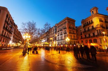La Rambla in night. Barcelona