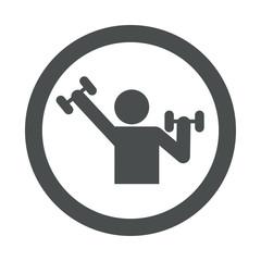 Icono redondo gimnasio gris