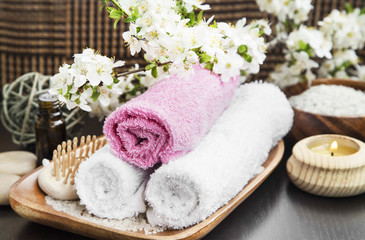 Spa Setting with Cotton Towels and Flowers